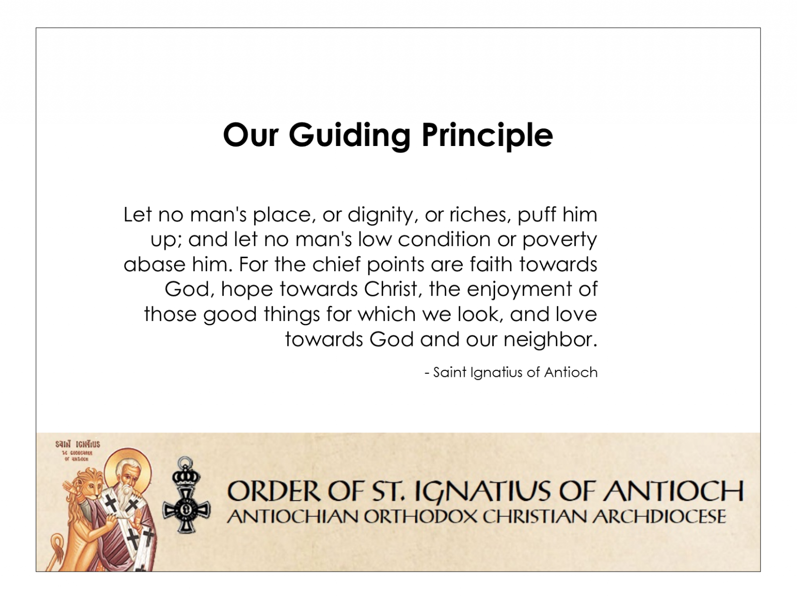 Order of St  Ignatius of Antioch - Home